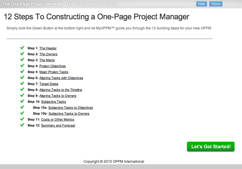 one page project manager This slideshow was produced to provide people with a primer on 'how to use the one page project manager' it does not replace, but supplements, clark addison campbell's excellent book the one-page project manager.